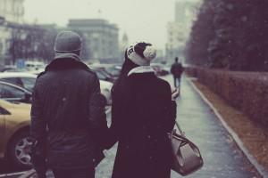 couple walking in a city