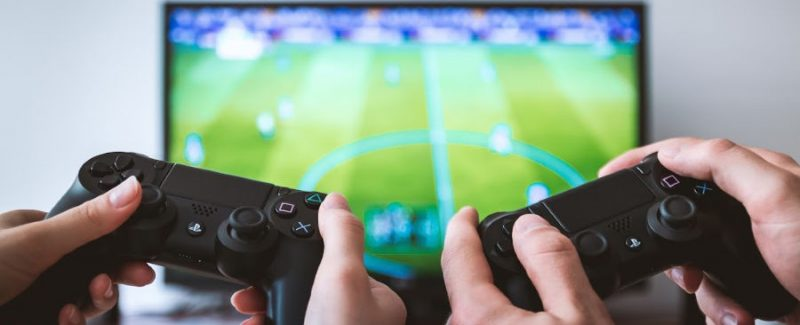 Married couple playing video games to compensate for their sexless marriage.